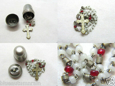† Htf Rare Antique Tiny Glass Rosary & Acorn Shaped Screw Case Locket Pendant †