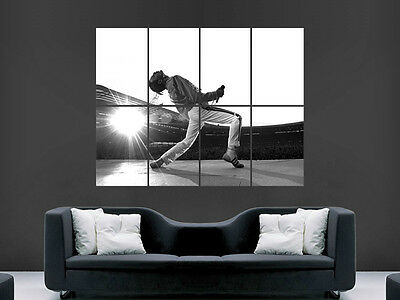 Freddie Mercury Wembley Stadium 1986 Wall Poster Art Picture Print Large