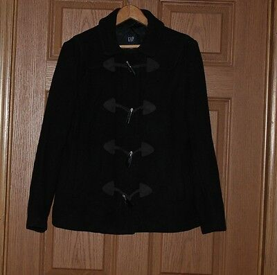 Women's Gap Wool Blend Zip/ Toggle Button Front Lined Coat Jacket – Black (M)