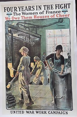 Original WWI United War Work Campaign YMCA YWCA Women of France Linen Poster