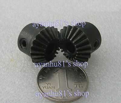 1 pair Bevel Gear Metal Gear 90 °  angle 1:1 1M20T Modulus:1 Teeth:20 Bore 6/8mm