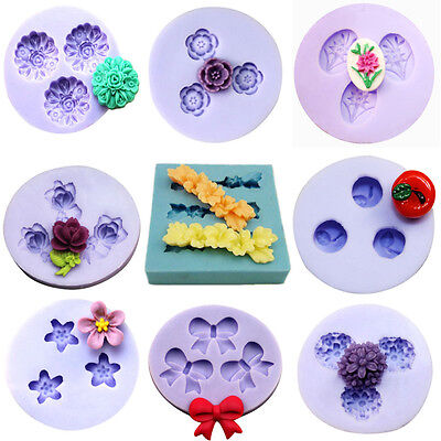 Flower Purple Silicone Mould Polymer Clay Decorating Fondant Craft 17 Style 3D