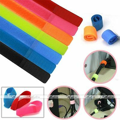 20pcs Reusable Cord Winder Band Nylon Cable Ties Strap Wire Fastener Organiser