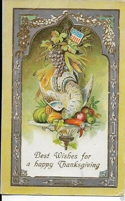 thanksgiving turkey postcard with american flag shield dated 1911