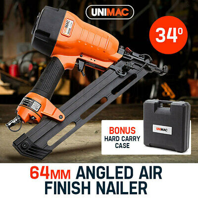 NEW UNIMAC Finishing Air Nail Gun - Heavy Duty Angled Nailer Pneumatic Finish