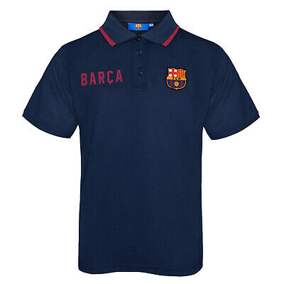 FC Barcelona Official Football Gift Boys Crest Polo Shirt Blue