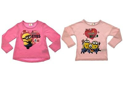 Girls Pink Minions Despicable Me T Shirt 100% Cotton Long Sleeve Top Kids Size