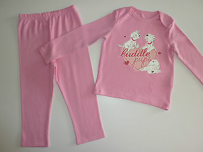 "DISNEY Really Cute ""Cuddle Pup"" Little 101 Dalmatians Pink PJ's NEW"