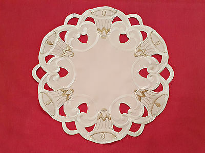 "Vintage Christmas Bells Cut Embroidery White 12"" Round Coaster Placemate Doily"