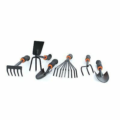 Set 6 Hand Garden Tools Shrub Rake Digger & Hoe Wide & Narrow Spade Cultivator