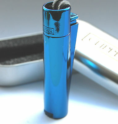Icy Blue Clipper Metal Lighter Gas Metalic Flint Ice Polished + Gift Case Tin