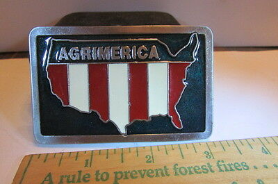 1970s Pewter Belt Buckle-Agrimerica-Map Of The United States