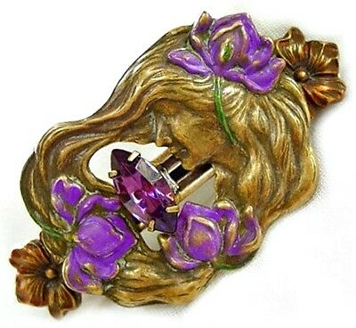 Purple Orchid Goddess French Clip Barrette Handpainted Brass 257