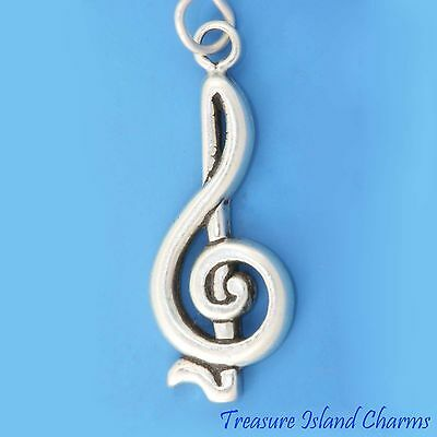Bass Clef F-Clef Musique Symbole .925 Solid Sterling Silver Charm Made in USA