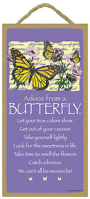 "ADVICE FROM A DRAGONFLY Primitive Wood Hanging Sign 5/"" x 10/"""