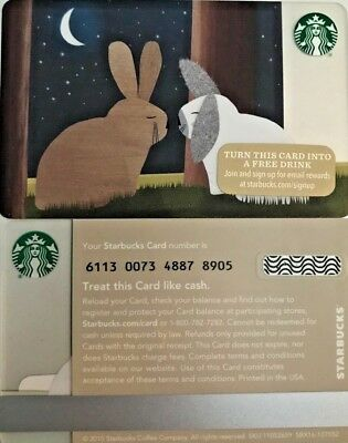 """New 2015 Starbucks """"bunnies"""" Gift Card Limited Edition No Value Mint"""