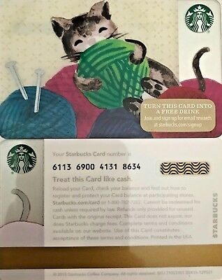 """New 2015 Starbucks """"cat With Yarn"""" Gift Card Limited Edition No Value Mint"""