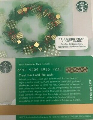 """2015 Starbucks Christmas """"wreath"""" Gift Card Limited Edition No Value Mint"""