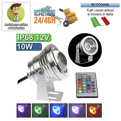 Faro Faretto Led Proiettore Orientabile 10W Rgb Ip67 Esterno Waterproof 12V