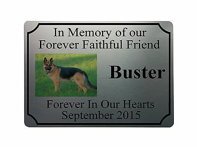 "PETS 5x7"" MEMORIAL PLAQUE PHOTO Metal Aluminium Sign Plaques Custom Personalised"