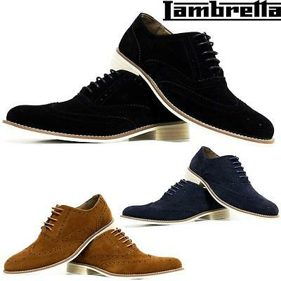 Mens Leather Smart Office Wedding Shoes Suede Formal Casual Party Brogue Shoes