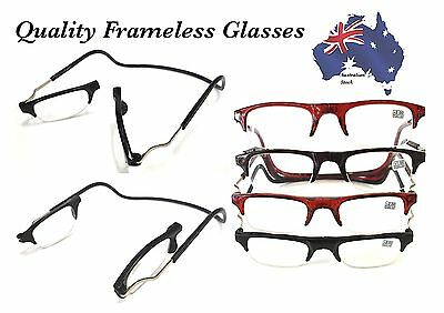 Magnetic Reading Glasses Semi Frameless Folded Hanging +1 +1.5 +2 +2.5 +3 Lens