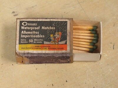 Vintage wooden box of Coghlan's water proof safety matches, made in Australia