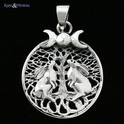 "Lisa Parker Sterling Silver Pendant: ""Moongazing Hares with Tree"" Wicca Pagan"