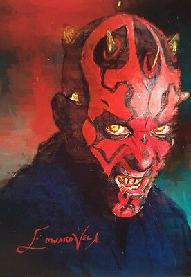 Star Wars Darth Maul Sketch Card Auto Signed Limited #15/25 Edward Vela Art Aceo