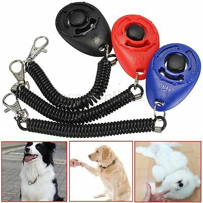 Dog Pet Cat Piggy Obedience Training Clicker Click Button Trainer With Band Belt