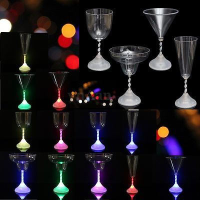 New LED 7 Color Flashing Light Champagne Wine Drink Glass Cup Mug Bar Xmas Party