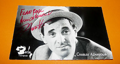 Cpa Charles Aznavour  Dedicacee  Annees 60 Disques Barclay