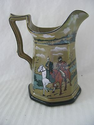 """Excellent 1908 Buffalo Pottery Deldare 6"""" Octagonal Pitcher The Fallowfield Hunt"""