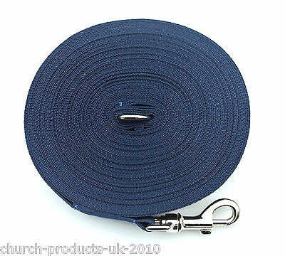 100ft Long Dog Training Lead,Obedience,Recall,Leash,Large 25mm Navy Webbing