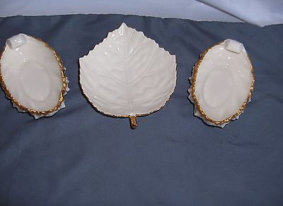3 Vintage Leaf Lenox China Candy Dishes Maple & Acanthus MINT