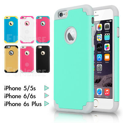 Shockproof Rubbery Rugged Rubber Two Layers Cover Case for iPhone 5 5S 6 6S PLUS