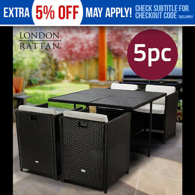 LONDON RATTAN Wicker 5 Piece Outdoor Dining Furniture set - Table and Chairs