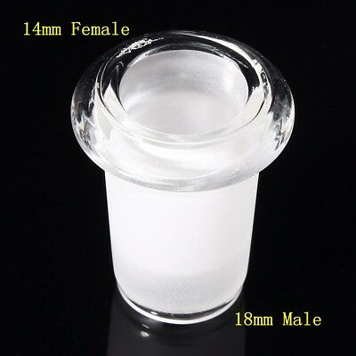 Clear Glass Expander Reducer Adapter Connector Lab Tool 14mm Female to 18mm Male