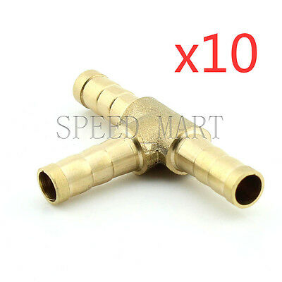 10 pcs 8mm Barbed Brass T Piece 3 Ways Tee Hose Fuel Hose Joiner Adapter