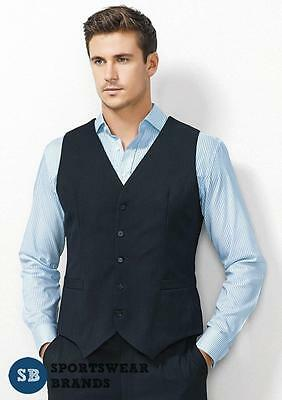Biz Corporates Mens Peaked Vest with Knitted Back Charcoal Navy Black New 90111