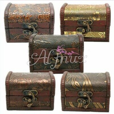 Christmas Vintage Box Jewelry Storage Wood Organizer Pearl Necklace Gift Wooden