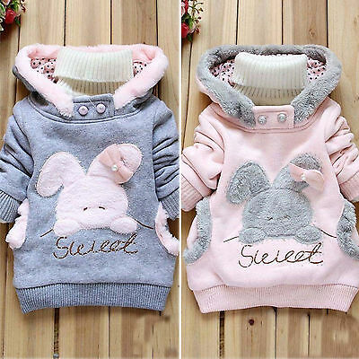 Baby Kids Girls Rabbit Winter Fleece Hoodie Sweater Pullover Jumper Outwear Top