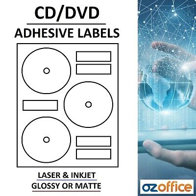 FULL DISC PRINTABLE 10 or 25 Sheets GLOSSY MATTE CD DVD Labels Sticker Adhesive
