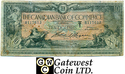 Raw Canadian Bank of Commerce 1917 $10 Note Serial Number B115613
