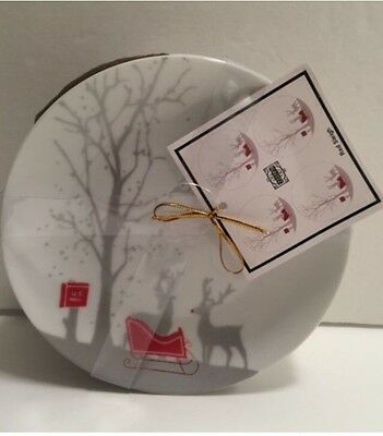 FINAL NEW! SALE 222 Fifth Set 4 Red Sleigh Christmas Appetizer Plates Reindeer