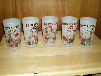 VINTAGE SET OF 5 FROSTED  GAMBLERS  NOVELTY  BAR GLASSES  TAKE A LOOK