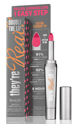 Benefit They're Real DOUBLE THE LIP Lipstick & Lip Liner 1.5g PINK THRILLS Boxed