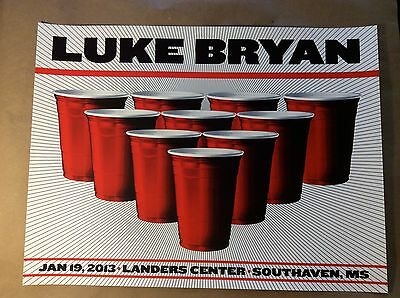 2013 Luke Bryan Poster Landers Center Southaven Ms Signed Nate Duval