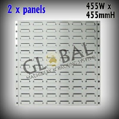 2x Pack Louvered Panels 455 x 455 Wall Mounted Parts Bin Storage SO0111