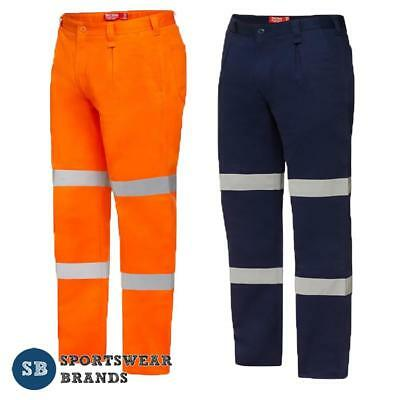 Hard Yakka Cotton Drill Pant with 3M Reflective Tape Work Hi Vis NEW Y02615